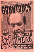 """Music Memorabilia:Posters, Gruntruck / Truly Moore Theatre Concert Poster (1993). Rolled, Fine+. Signed Concert Poster (11"""" x 17"""") Designed by Mike..."""