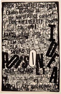 Poison Idea / The Rats Rock Against Reagan SW Service Center Concert Poster (1983). Rolled, Very Good+. Concert Poster (...
