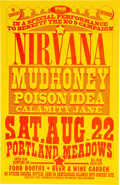 Music Memorabilia:Posters, Nirvana 1992 Portland Meadows Concert Poster Signed by Designer Mike King. ...