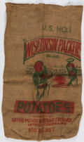 """Football Collectibles:Others, 1960's Green Bay """"Wisconsin Packers"""" Jim Taylor and Bart Starr Potato Sack - Extremely Scarce!..."""