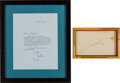 Autographs:U.S. Presidents, [John F. Kennedy]: Jacqueline Kennedy Sketch with Typed Letter Signed [TLS].... (Total: 2 Items)