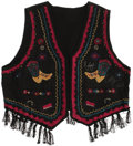 Music Memorabilia:Autographs and Signed Items, Dolly Parton Signed Vest. A black vest with Western motif andfringe, inscribed and signed on the left side by Parton in sil...