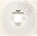 Music Memorabilia:Recordings, Four Dots Promo Autographed 45 Group of 2 (Freedom, 1958). Somegreat promo copies of records by the group whose members inc...