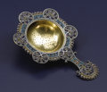 Silver Holloware, American:Tea Strainer, An American Silver Gilt and Enamel Tea Strainer. Unknown maker,American. Circa 1870-1900. Silver and enamel. Marks: S,...