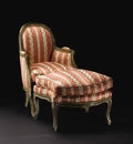 Furniture, A French Louis XV Carved Wood Bergere and Ottoman. Unknown maker, French. Circa 1750-1760. Painted and gilded wood, uphols... (Total: 2 )