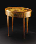 Furniture : Continental, A Continental Inlaid One Drawer Oval Tray Game Table. Unknownmaker, Continental. Late Nineteenth Century. Various wood. U...