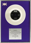 "Music Memorabilia:Awards, Chubby Checker ""Let's Twist Again"" UK Platinum Single Award.Presented to Decca Records in 1976 to commemorate the sale of m..."