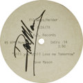 "Music Memorabilia:Autographs and Signed Items, Dave Mason Signed ""Will You Still Love Me Tomorrow"" Acetate. Anacetate recording of the popular track, signed by the singer..."