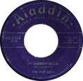 """Music Memorabilia:Recordings, Five Keys """"My Saddest Hour""""/ """"Oh Babe!"""" 45 (Aladdin 3214, 1953).Rare, early single by the long-performing group, prior to t..."""