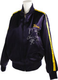 Music Memorabilia:Costumes, Blondie Signed Tour Jacket. A blue satin jacket with gold liningand gold-and-green piping on the sleeves, with a large Gree...