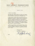 Movie/TV Memorabilia:Autographs and Signed Items, Walt and Roy Disney Signed Letters. Included is a typed letter ofrecommendation on Walt Disney Productions letterhead, date...