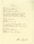 """Music Memorabilia:Autographs and Signed Items, Felix Cavaliere """"Groovin' """" Handwritten Lyrics. A sheet of notebookpaper with lyrics for the hit Young Rascals song """"Groovi..."""