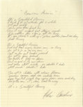 "Music Memorabilia:Autographs and Signed Items, Felix Cavaliere ""Beautiful Morning"" Handwritten Lyrics. A sheet ofnotebook paper with lyrics for the Rascals classic ""Beaut..."