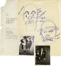 Movie/TV Memorabilia:Memorabilia, Emile LaVigne Blood Recipe and Clown Drawing. From the notes anddocuments of make-up artist Emile LaVigne comes this typed ...