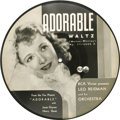 "Movie/TV Memorabilia:Recordings, Janet Gaynor Memorabilia ""Adorable"" 10"" Picture Disc (RCA 17-4000,1933). Backed with ""My First Love To Last"", both tunes ar..."