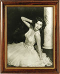 "Movie/TV Memorabilia:Photos, Ava Gardner Framed Photo. A beautiful b&w 11"" x 14"" portrait ofAva in a flowing evening dress, framed to an overall size of..."