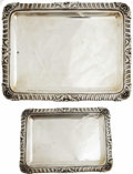 "Movie/TV Memorabilia:Memorabilia, Ava Gardner Spanish Silver Vanity Set. A matched set of Spanishsilver vanity trays measuring 5.5"" x 8"" and 7"" x 10"", in Ver..."