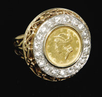 Gold and Diamond Ring From Elvis. An attractive 18-karat gold ring featuring an 1851 U.S. dollar coin surrounded by 20 b...