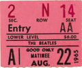 Music Memorabilia:Tickets, Beatles Portland Coliseum Concert Ticket Stub. A stub for theBeatles' afternoon performance at the Portland Coliseum on Aug...