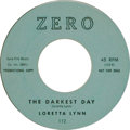 "Music Memorabilia:Recordings, Loretta Lynn ""The Darkest Day""/ ""Gonna Pack My Troubles"" Promo 45(Zero 112, 1961). The then 26-year old future Country Quee..."