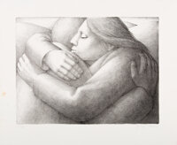 George Tooker (b. 1920) Embrace II, 1984 Lithograph on Rives BFK paper 16-1/2 x 20 inches (41.9 x