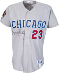 Baseball Collectibles:Uniforms, 1993 Ryne Sandberg All-Star Game Worn & Signed Chicago Cubs Jersey--Photo Matched To All-Star Game....