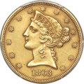 Liberty Half Eagles, 1863 $5 -- Repaired -- PCGS Genuine. AU Details....