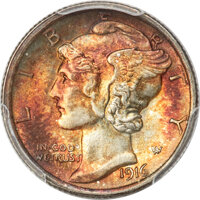 1916 10C MS68 Full Bands PCGS. CAC....(PCGS# 4905)
