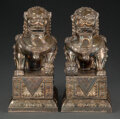 Silver & Vertu, A Pair of Chinese Export Silver Guardian Lion-Form Boxes. Marks: Multi-character Beijing and Shanghai marks, (Wanbao). 8-7/8... (Total: 2 Items)