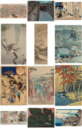 Works on Paper, Eleven Japanese Woodblock Prints and One Painting by Various Makers, Meiji Period-Showa Period. Marks: (various). 15-7/8 x 1... (Total: 12 Items)