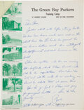 Football Collectibles:Others, 1959 Paul Hornung Handwritten Letter from Training Camp with Praise for Vince Lombardi. ...