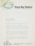 Football Collectibles:Others, 1959 Green Bay Packers Letter with Paul Hornung Criticism from Vince Lombardi. ...
