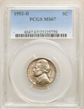 Jefferson Nickels, 1952-D 5C MS67 PCGS. PCGS Population: (7/0). NGC Census: (70/0). CDN: $250 Whsle. Bid for NGC/PCGS MS67. Mintage 30,638,000...