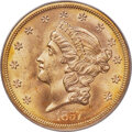 1857-S $20 Spiked Shield, Variety 20A, MS65 PCGS....(PCGS# 70000)