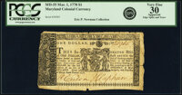Maryland March 1, 1770 $1 Fr. MD-55 PCGS Apparent Very Fine 30