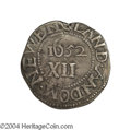 1652 SHILNG Oak Tree Shilling Scratched, Tooled VF20 Uncertified. Noe-5, Breen-18. The obverse is struck a bit off-cente...