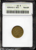 Classic Quarter Eagles: , 1839-D $2 1/2 VG8 ANACS. Admittedly well circulated, this ...
