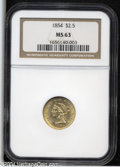Liberty Quarter Eagles: , 1854 $2 1/2 MS63 NGC. The design elements are nicely ...