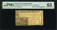 New Jersey December 31, 1763 12 Shillings Fr. NJ-156 PMG Choice Uncirculated 63