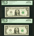Minor Overinking of the District Seal Error Fr. 1933-D $1 2006 Federal Reserve Note. Two Consecutive Examples PCGS Gem N...