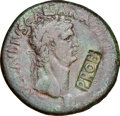 Ancients:Roman Imperial, Ancients: Claudius I (AD 41-54). AE sestertius (35mm, 24.95 gm, 7h). NGC VF 5/5 - 2/5, countermark....