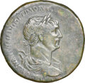 Ancients:Roman Imperial, Ancients: Trajan (AD 98-117). AE sestertius (34mm, 27.13 gm, 6h). NGC VF 3/5 - 2/5, smoothing....