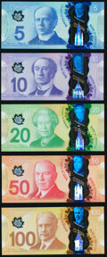 Canada Bank of Canada Denominational Set of 5 Polymer Examples Crisp Uncirculated. ... (Total: 5 notes)