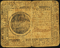 Continental Currency May 9, 1776 $7 Fr. CC-37 Uncertified Fine