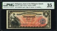 Philippines Bank of the Philippine Islands 5 Pesos 1.1.1920 Pick 13 PMG Choice Very Fine 35