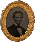 """Political:Ribbons & Badges, Abraham Lincoln: Fantastic Example of the Iconic George Clark 1860 Campaign Ambrotype, Measuring 2.125"""" x 2.5"""". ..."""