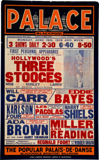 Moe Howard's Personally Owned Poster For The Three Stooges' Performance at the Blackpool Palace (1939)