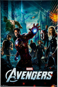 The Avengers 8 Cast Members and Stan Lee Signed Movie Poster