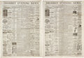 Military & Patriotic:Indian Wars, [George Armstrong Custer]: Newspaper Accounts of the Massacre at the Battle of Little Bighorn.... (Total: 2 Items)