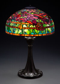Tiffany Studios Leaded Glass and Patinated Bronze Oriental Poppy Table Lamp, circa 1
